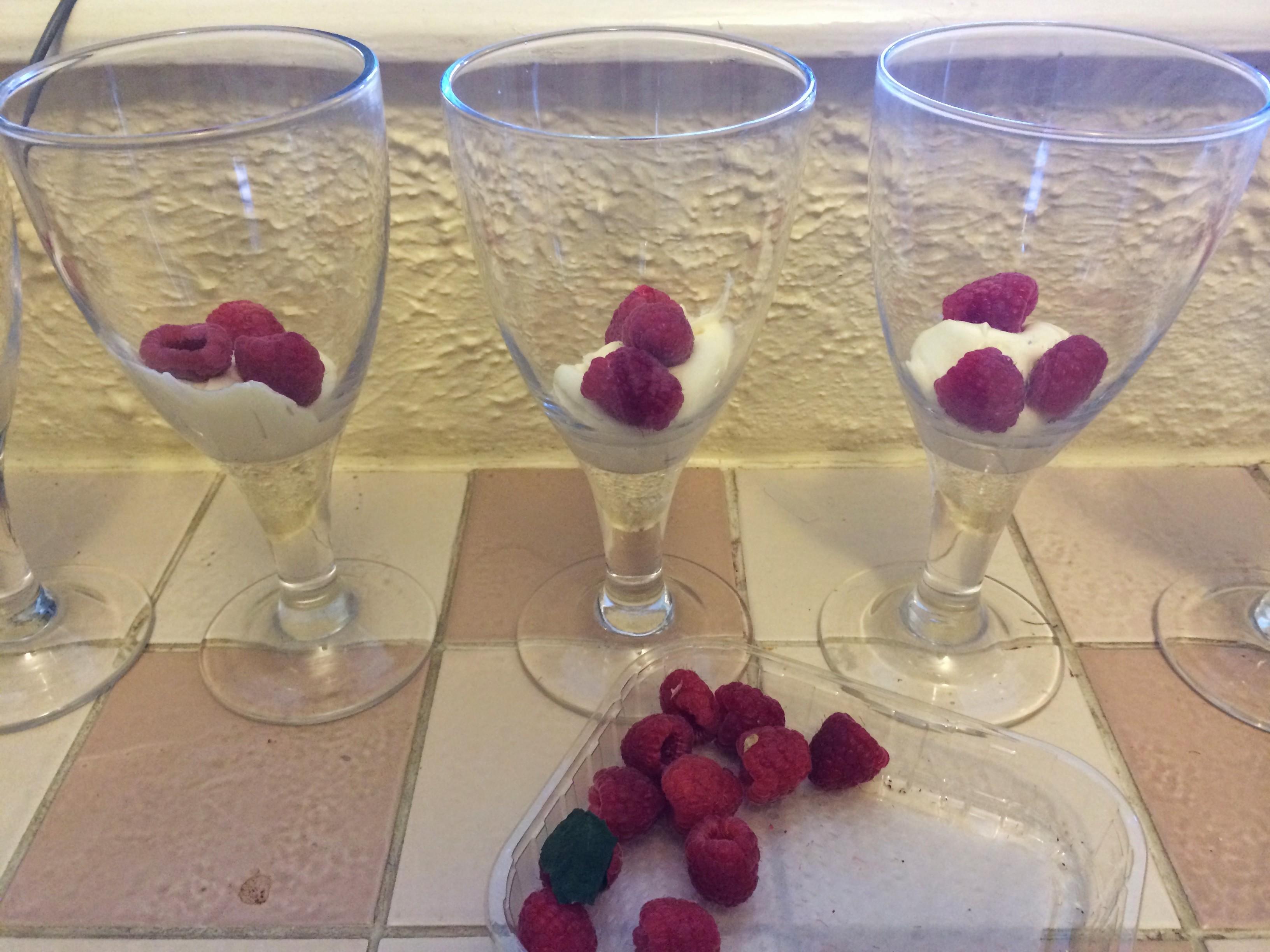 layer raspberries and cream
