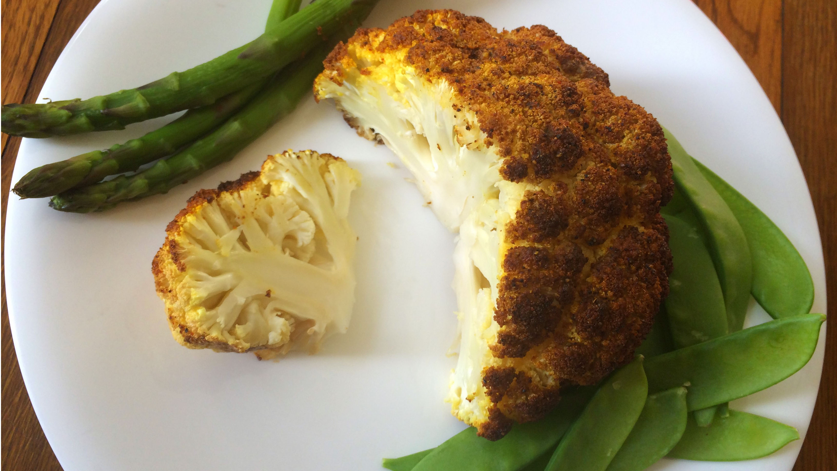 whole roasted head of cauliflower